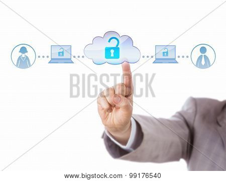 Index Finger Accessing Freelance Two Workers