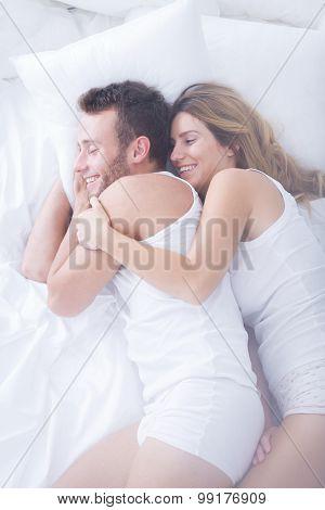 Wife Hugging Her Husband