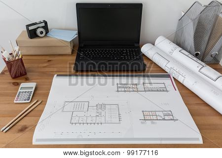 Laptop And Project On Paper