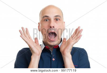 Bald Man With Shocked Facial Expression