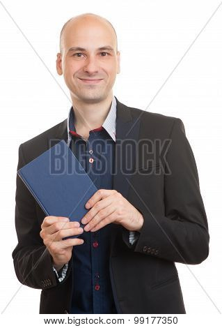 Businessman With A Book. Isolated