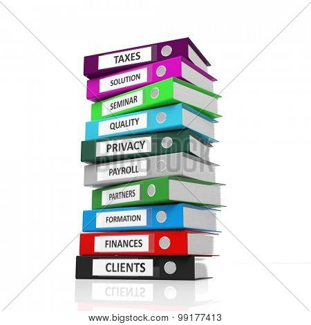 Multicolor office folder files isolated on white background