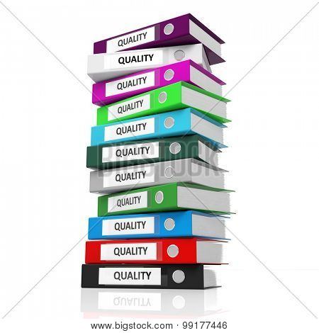 Multicolor office folders with label Quality isolated on white background