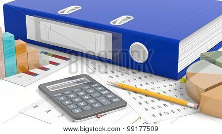 Office desktop with folder template, stats, calculator, pencil and papers