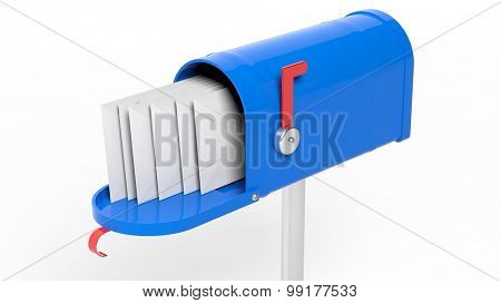 Blue mailbox with letters isolated on white background