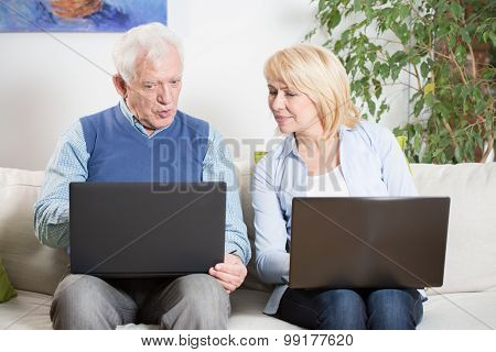 Elderly Man And Laptop