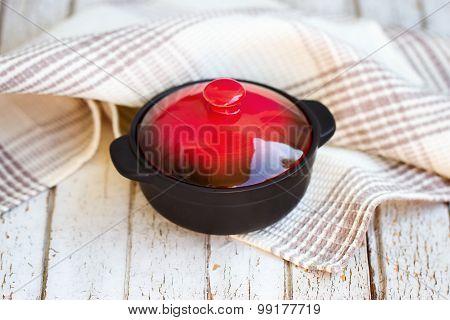 Red Borsch. The Traditional Ukrainian Dish. In A Small Saucepan