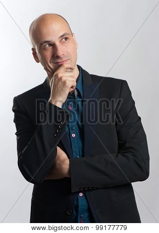 Fashionable Bald Man Thinking