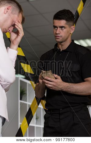 Despair Man Talking With Policeman