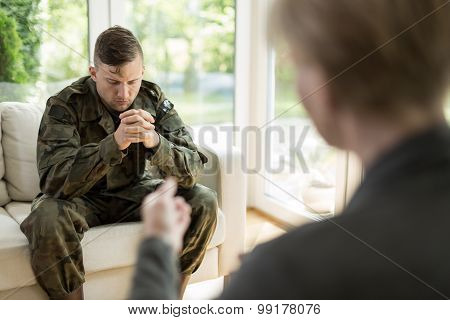 Military Man Visiting Psychologist
