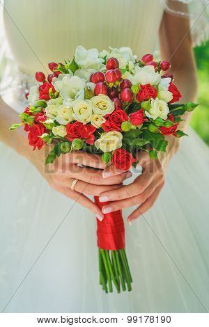 Wedding Bouquet With Little Red Roses