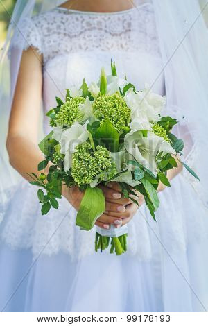 Wedding Green Bouquet In Rustic Style
