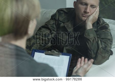 Pensive Soldier During Psychotherapy Session