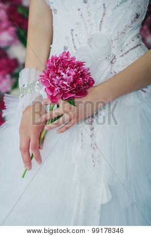 Bride Holding The Peony Flower
