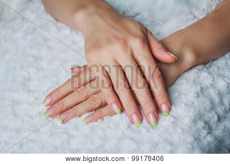 French Nail Art In Light Green Colour