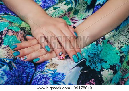 Light Blue Nail Art