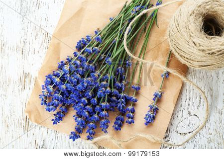 Fresh lavender and rope