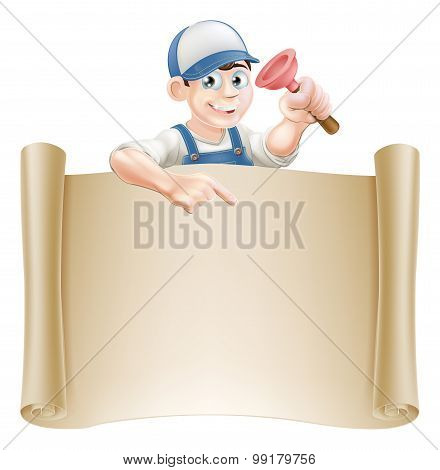 Janitor Or Plumber And Scroll