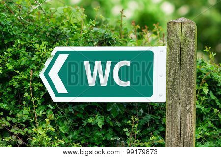 Direction Arrow, Sign To WC in Green Color