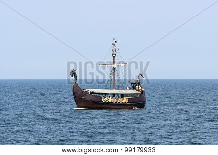 MIEDZYZDROJE - AUGUST 16: Touristic ship