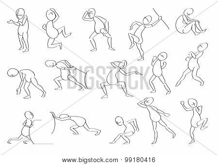 Set Of Vector Sketches A Man In Motion