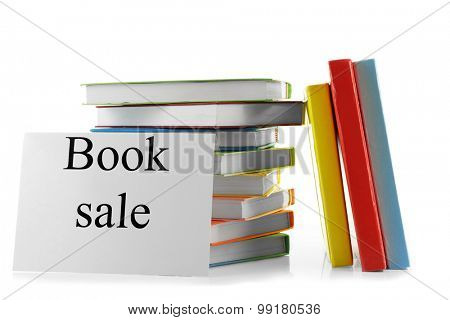Books for sale isolated on white