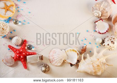 Collection of seashells on textured background