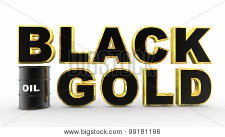 3d oil barrel and black gold text