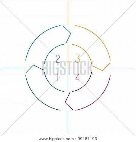 Infographic Circle Colourful Lines 4 Positions