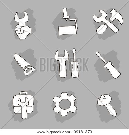 Repair and construction working tools hand drawn icon set