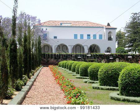 Akko Bahai Gardens View Of The Mansion Of Bahji 2004