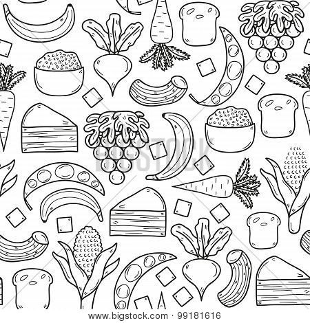 Seamless background with products prohibited during paleo diet in hand drawn cartoon outline style: