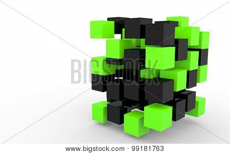 3d black and green cubes structure