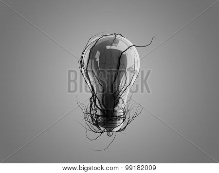 Light Bulb With Roots And Emerged On The Icon With Roots.