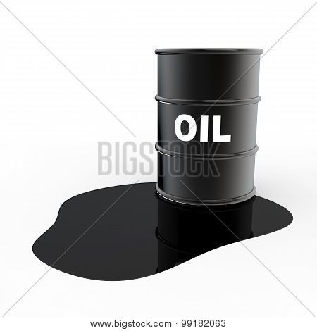 3d oil barrel and leaked oil