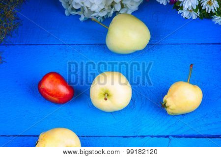 Apples, plum and flowers on a table
