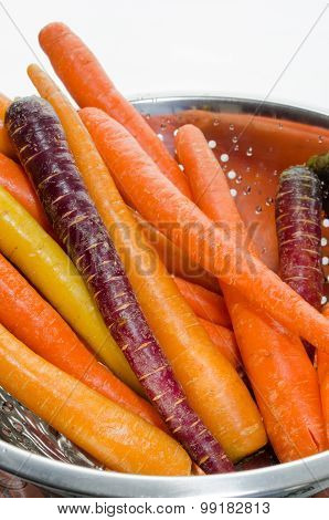 Colorful Carrots In Colander