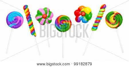 Group of unique lollipops isolated on white