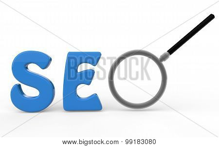 3d SEO text with magnifying glass
