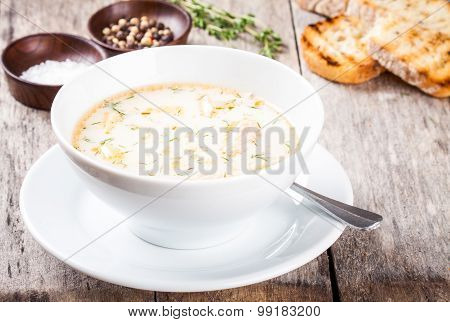 Homemade Soup With Salmon And Cream With Croutons