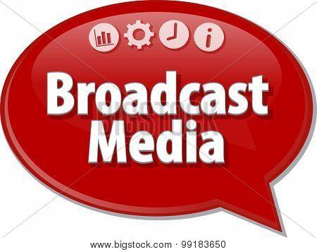 Speech bubble dialog illustration of business term saying Broadcast Media