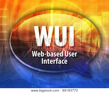 Speech bubble illustration of information technology acronym abbreviation term definition WUI Web based User Interface