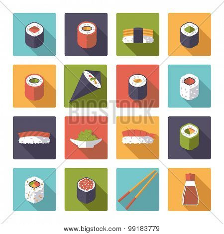 Sushi Flat Design Vector Icons Collection. Set of 16 sushi related icons in rounded squares, flat design, long shadow