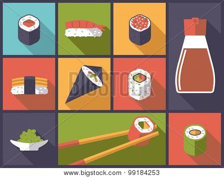 Sushi Icons Vector Illustration. Horizontal flat design illustration with sushi related icons