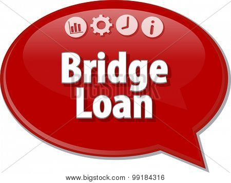 Speech bubble dialog illustration of business term saying Bridge Loan