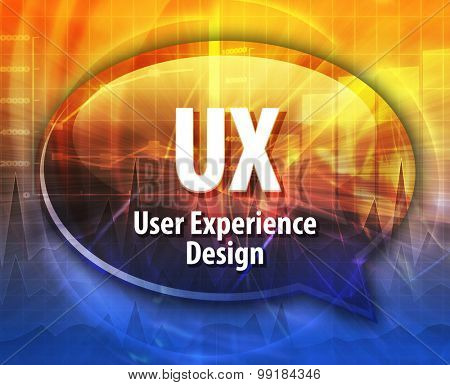 Speech bubble illustration of information technology acronym abbreviation term definition UX User Experience Design