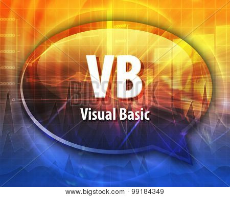 Speech bubble illustration of information technology acronym abbreviation term definition VB Visual Basic
