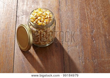 maize corn in a glass container