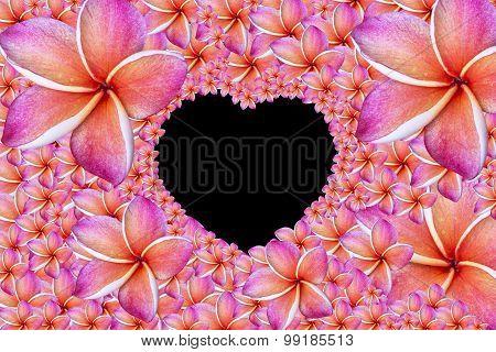 flowers frame in white Heart green background