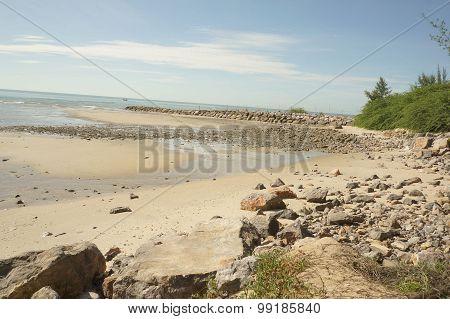 Beach Sun Sky Landscape Thailand Nature Rock Concept